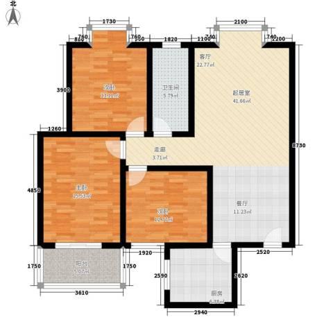 风尚馨筑3室0厅1卫1厨108.00㎡户型图