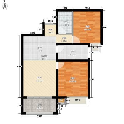 千林世纪城2室0厅1卫1厨88.00㎡户型图