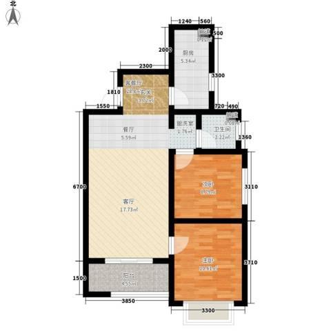 香缤国际城2室1厅1卫1厨89.00㎡户型图