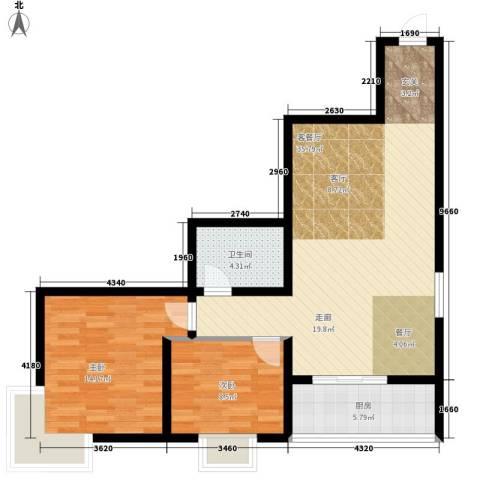 新科花园2室1厅1卫1厨78.00㎡户型图