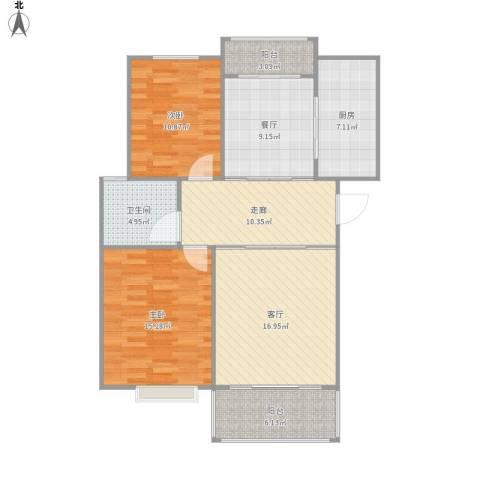 香城花园三期2室2厅1卫1厨113.00㎡户型图