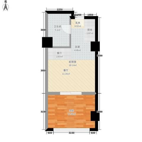 中宏汇景国际1室0厅1卫0厨54.00㎡户型图
