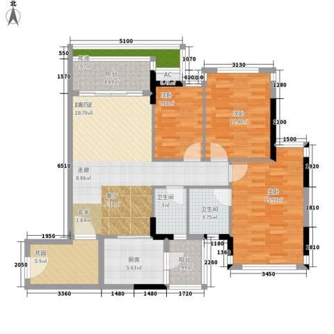 云裳丽影3室0厅2卫1厨103.00㎡户型图