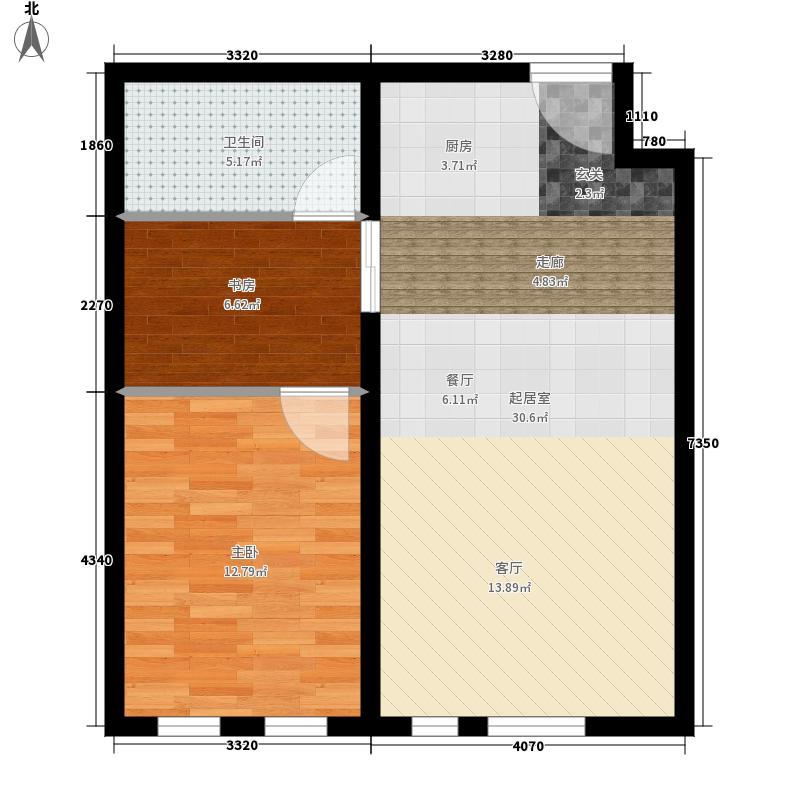 东方国际城61.63㎡6-A户型图户型2室2厅1卫