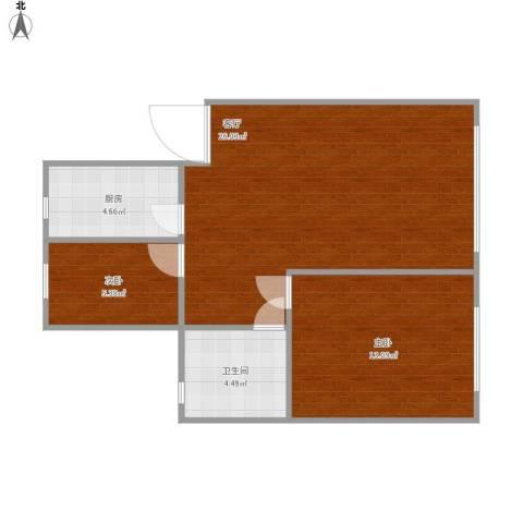 山鑫阳光城2室1厅1卫1厨72.00㎡户型图