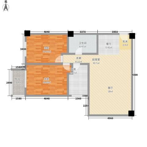 时代明丰苑2室0厅1卫1厨102.00㎡户型图