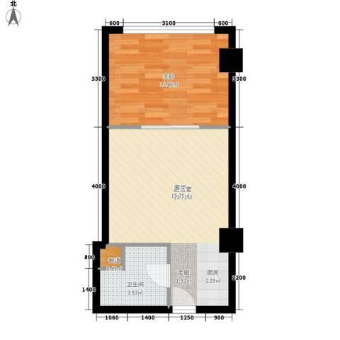 中宏汇景国际1室0厅1卫0厨53.00㎡户型图