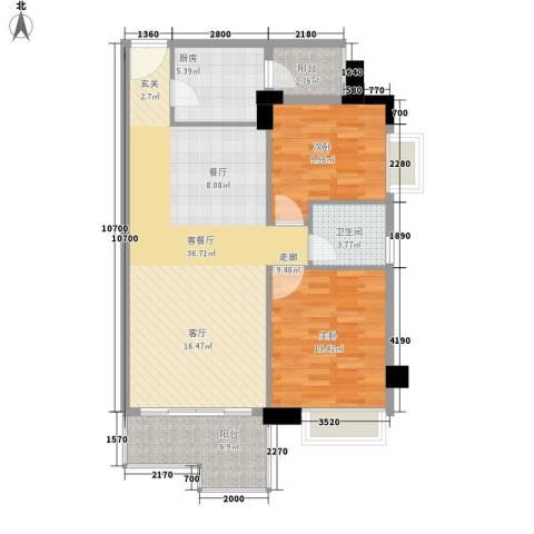 都市兰亭2室1厅1卫1厨87.00㎡户型图