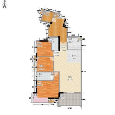 富力院士庭3室1厅2卫1厨141.00㎡户型图