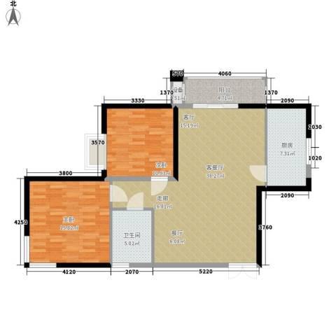 红区抽屉2室1厅1卫1厨92.00㎡户型图