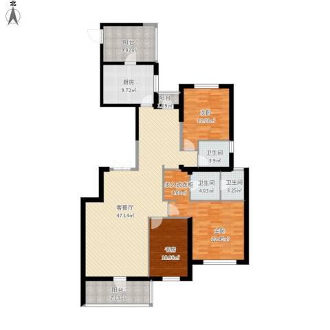 奕聪花园3室1厅3卫1厨183.00㎡户型图