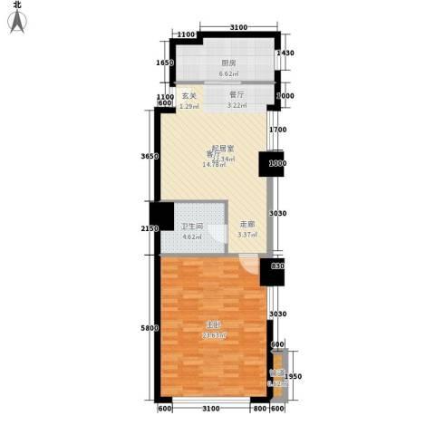 中宏汇景国际1室0厅1卫1厨82.00㎡户型图
