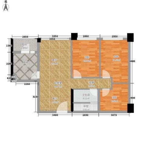 宏发世纪城一期3室0厅1卫1厨74.00㎡户型图