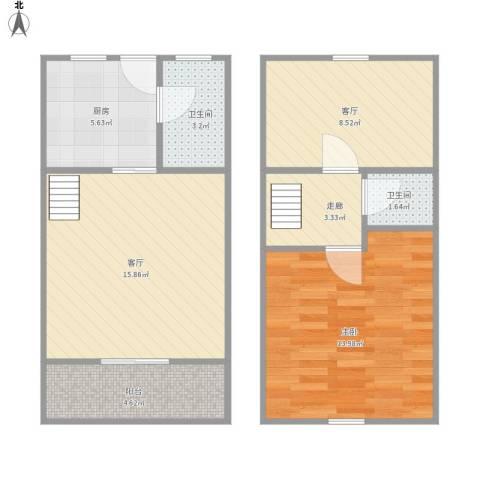 上坤公园天地1室2厅2卫1厨77.00㎡户型图