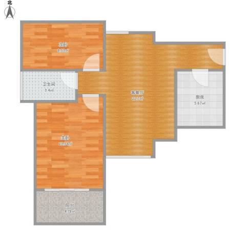 雅居乐约克郡2室1厅1卫1厨78.00㎡户型图
