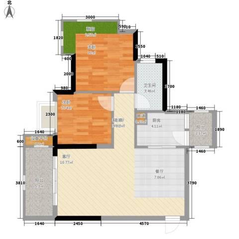 富力院士庭2室1厅1卫1厨73.00㎡户型图