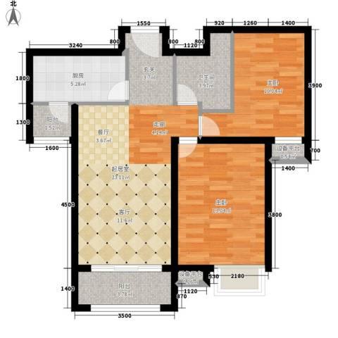 万达广场2室0厅1卫1厨89.00㎡户型图