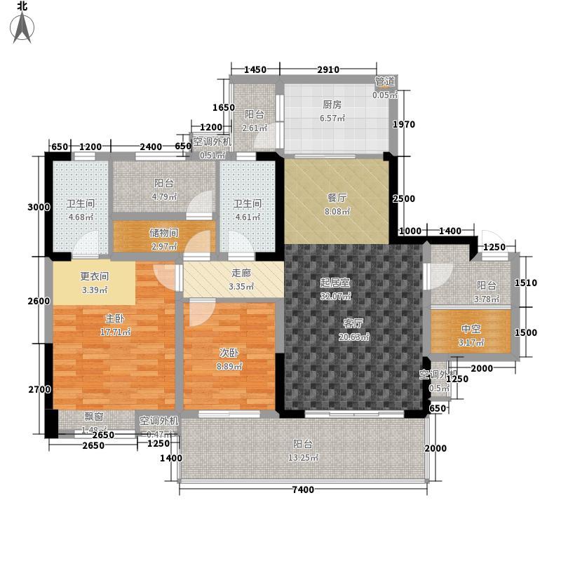 保利新天地120.51㎡1期19栋标准层E3户型