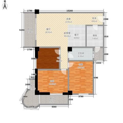 时代明丰苑3室0厅1卫1厨142.00㎡户型图