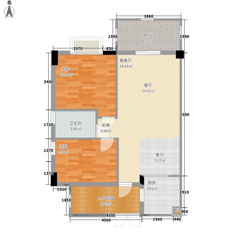 富力院士庭81.21㎡三期C3b03面积8121m户型