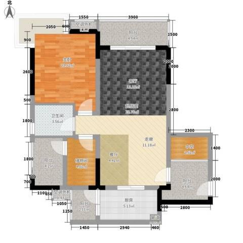保利新天地1室0厅1卫1厨86.59㎡户型图