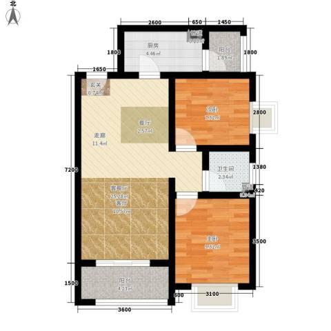 香缤国际城2室1厅1卫1厨82.00㎡户型图