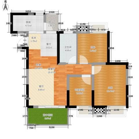 新港国际花园2室1厅1卫1厨90.00㎡户型图
