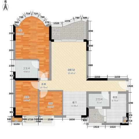 颐景华苑3室0厅2卫1厨109.00㎡户型图