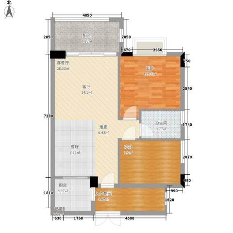 富力院士庭2室1厅1卫1厨81.00㎡户型图