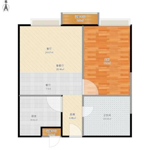 元丰宜家1室1厅1卫1厨90.00㎡户型图