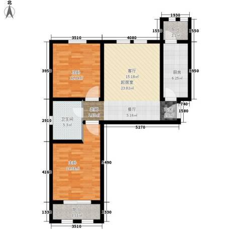东方国际城2室0厅1卫1厨77.00㎡户型图