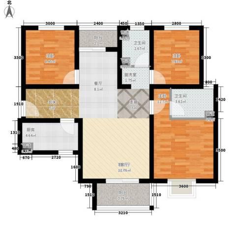 香缤国际城3室1厅2卫1厨115.00㎡户型图
