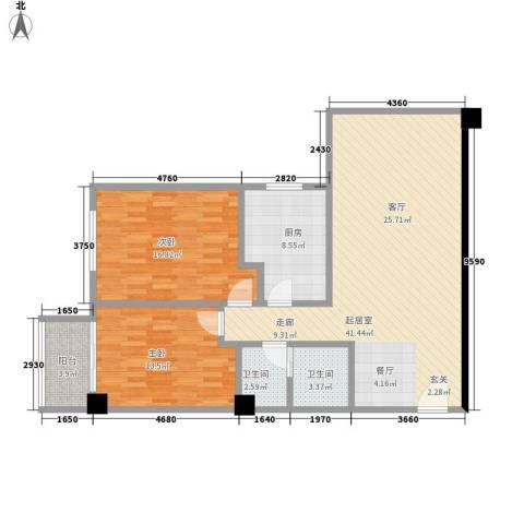 时代明丰苑2室0厅2卫1厨101.00㎡户型图
