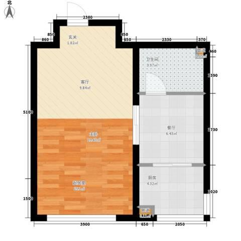 北方尚品1厅1卫1厨57.00㎡户型图