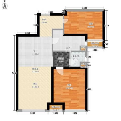 华远海蓝城2室0厅1卫1厨92.00㎡户型图