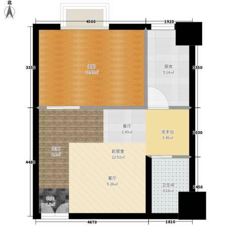 万豪大厦1室0厅1卫1厨51.00㎡户型图