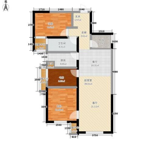 华远海蓝城3室0厅1卫1厨105.00㎡户型图