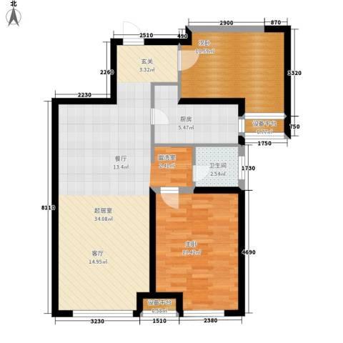 华远海蓝城2室0厅1卫1厨95.00㎡户型图
