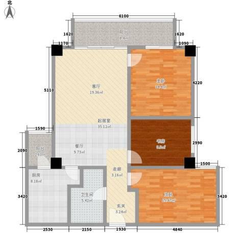 时代明丰苑3室0厅1卫1厨113.00㎡户型图