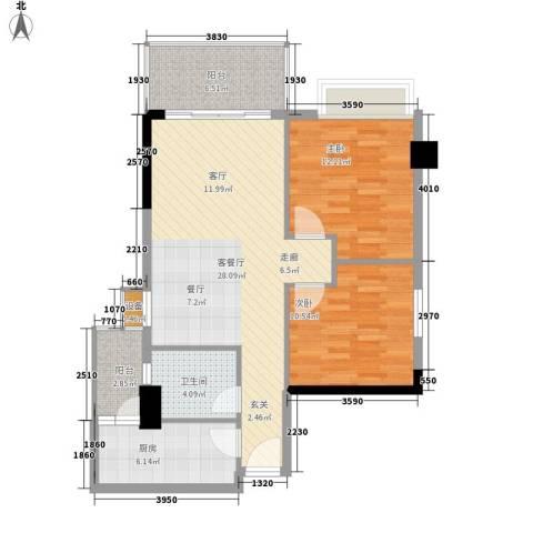都市兰亭2室1厅1卫1厨80.00㎡户型图