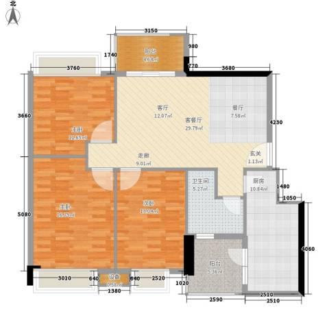 都市兰亭3室1厅1卫1厨109.00㎡户型图
