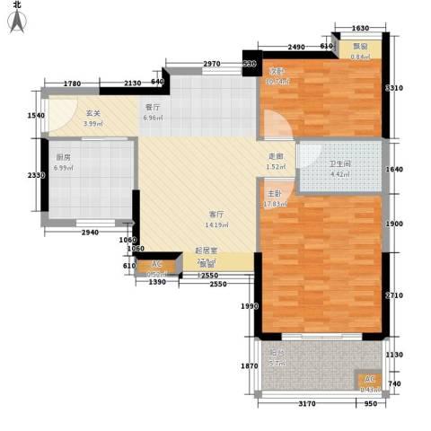 广州雅居乐花园十年小雅2室0厅1卫1厨75.00㎡户型图