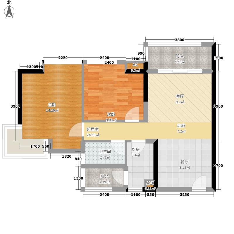 湘域中央83.29㎡3号楼C型二面积8329m户型