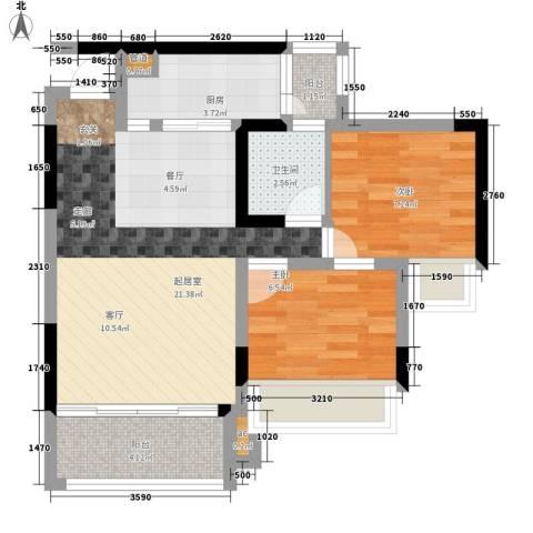 美的林城时代2室0厅1卫1厨92.00㎡户型图