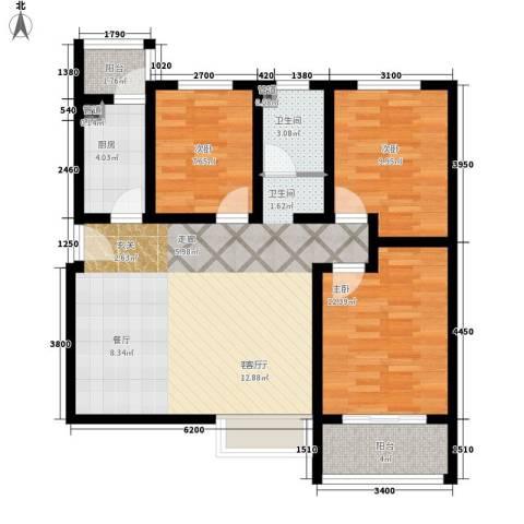 香缤国际城3室1厅1卫1厨112.00㎡户型图