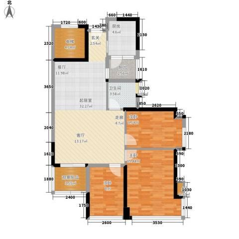 广州雅居乐花园十年小雅3室0厅1卫1厨96.00㎡户型图