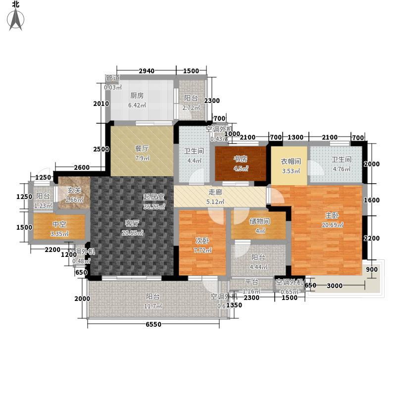 保利新天地133.86㎡1期19栋标准层E2户型