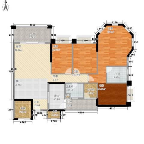 锦绣新天地3室0厅2卫1厨158.00㎡户型图