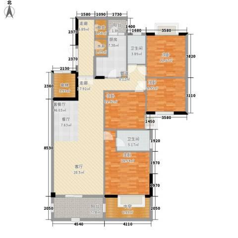 富力院士庭4室1厅2卫1厨145.00㎡户型图