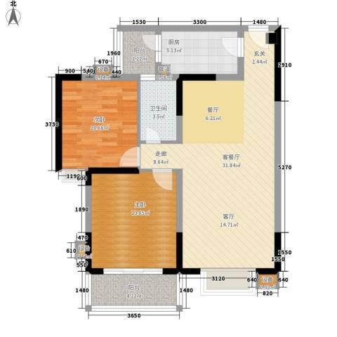和谐家园2室1厅1卫1厨94.00㎡户型图